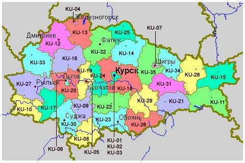 WHKMLA History Of Kursk Oblast - Russia administrative map